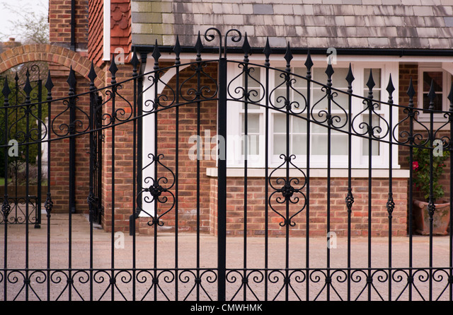 wrought iron metal driveway gates stock image
