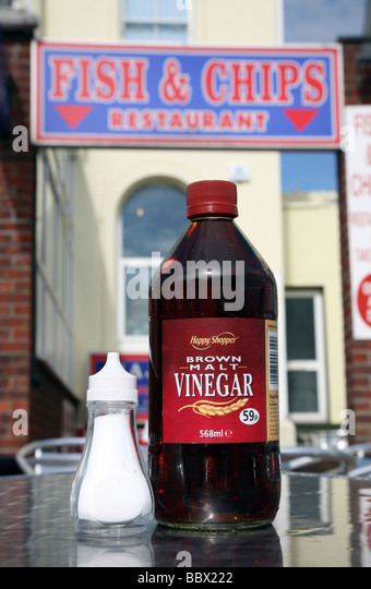 Seaside and chips salt and vinegar food stock photos for Fish and chips vinegar