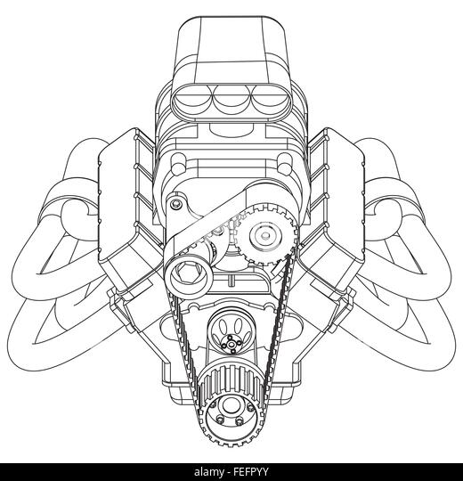 v8 engine cartoon drawing sketch coloring page