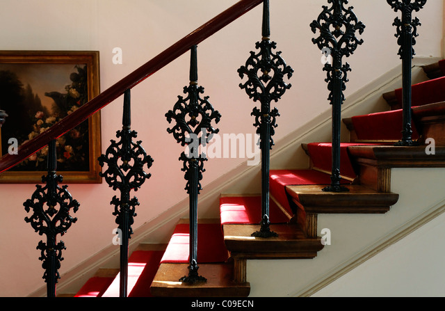 Staircase With Decorative Cast Iron Railings From The 19th Century,  Koekkoek Haus Museum,