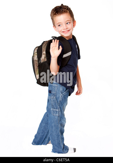 Little Boy With Backpack Stock Photos & Little Boy With Backpack Stock ...