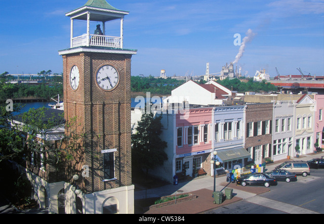The Belltower And Historic Waterfront Stores, Georgetown, SC   Stock Image