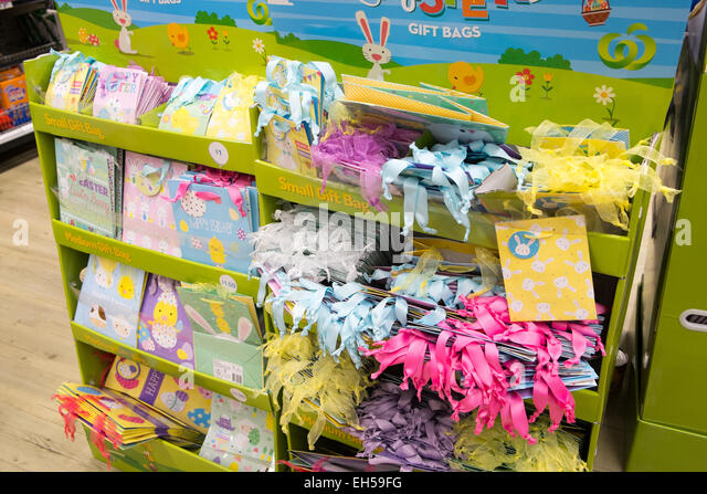 Gift cards display stock photos gift cards display stock images easter wrapping and gift cards for sale interior of an australian woolworths supermarket store in mona negle Images