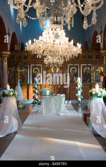 Christian wedding stock photos christian wedding stock images wedding altar prepared for christian orthodox wedding ceremony inside church greece europe junglespirit Image collections