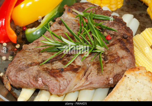 Grilled Beef Steak With Asparagus Peppers Corncob In A Pan Stock Image