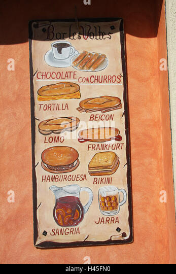 Spain Costa Brava Blanes Bar Les Volt Menu Illustration Destination