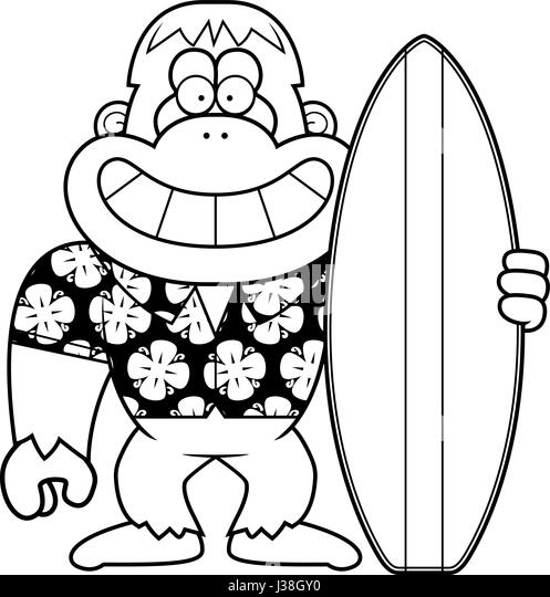 A Cartoon Illustration Of Yeti Surfing In The Summer