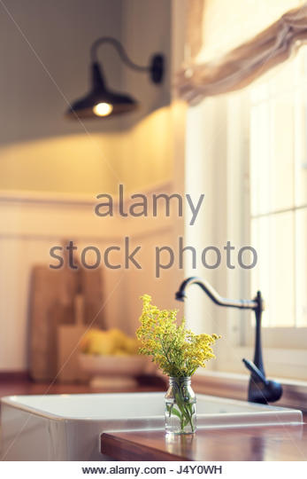 Flowers In A Cozy Kitchen   Stock Image