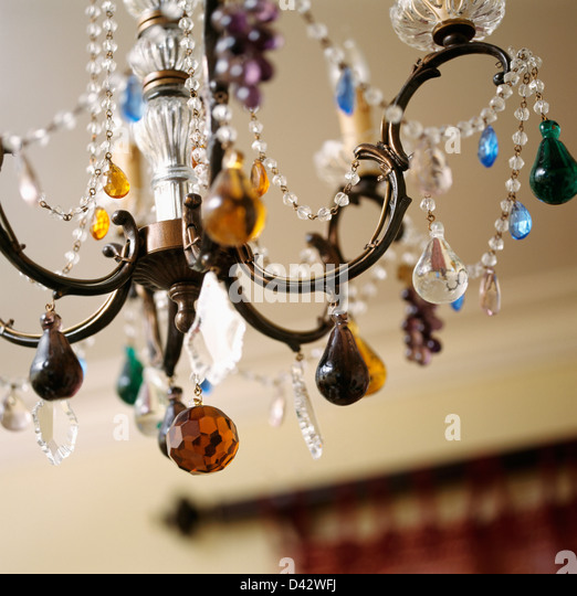Chandelier droplets stock photos chandelier droplets stock close up of metal chandelier decorated with glass droplets and beads stock image mozeypictures