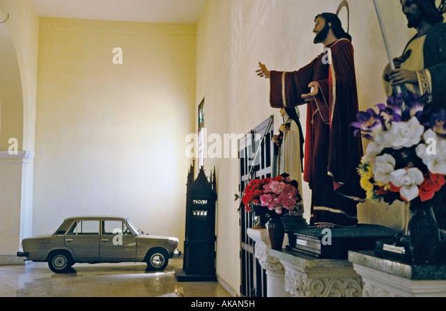 russian lada parked in a church in san francisco de los baos province of la habana