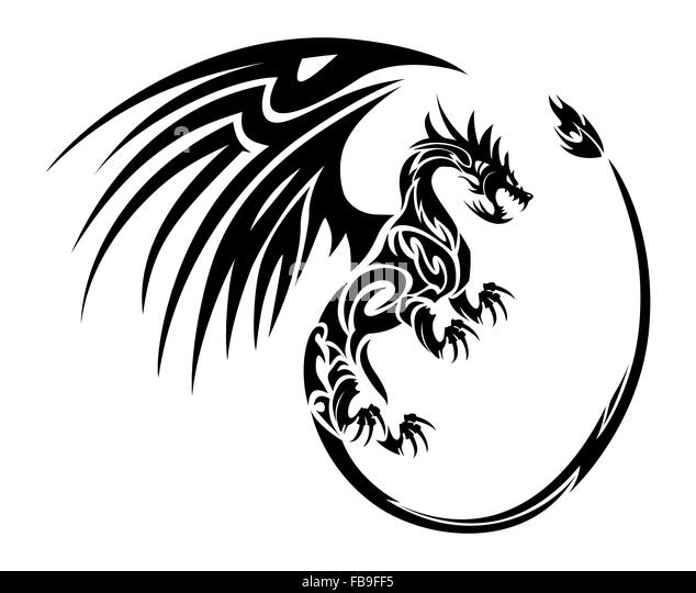 dragon tattoo black and white stock photos images alamy. Black Bedroom Furniture Sets. Home Design Ideas