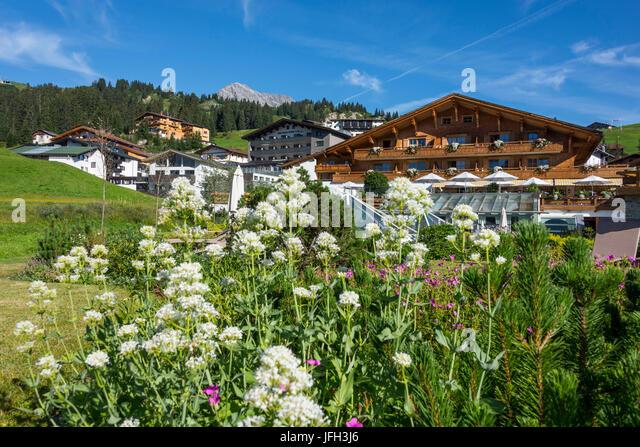 Austria, Vorarlberg, Lech, Oberlech, hotel castle Vital Resort - Stock Image