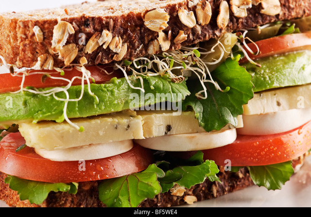 Vegetarian Health Bread Sandwich With Avocado, Cheese, Mushrooms Stock ...