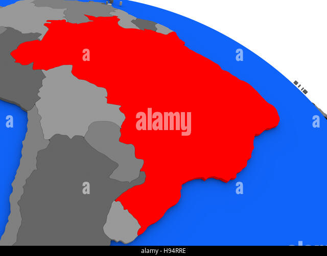 Brazil political map stock photos brazil political map stock map of brazil highlighted in red on a globe 3d illustration stock image gumiabroncs Choice Image