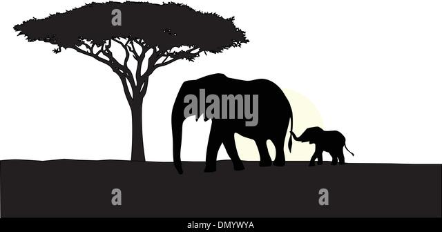 african elephant with baby silhouette stock vector