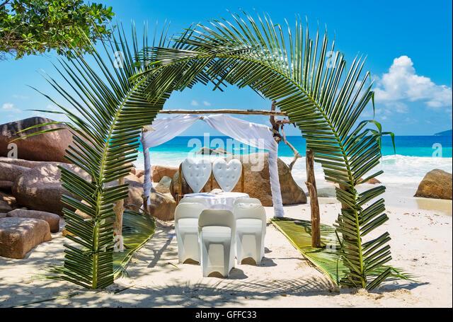 Tropical Wedding Setting On Sandy Beach