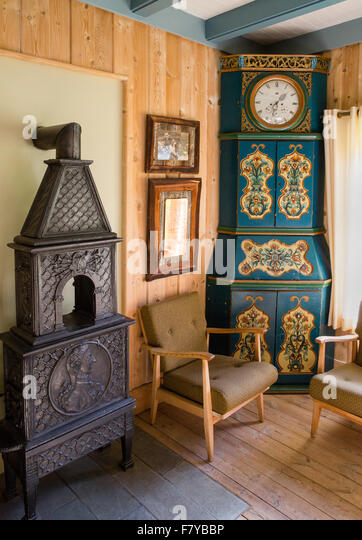 Elegant scandinavian interior decorated with antique furniture at the  Kongsvold Hotel in Oppland central Norway. Oppland Stock Photos   Oppland Stock Images   Alamy
