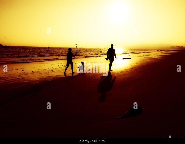 a-couple-walks-their-dog-on-the-beach-at
