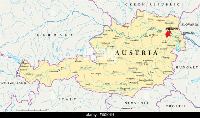 Austria Hungary Map Stock Photos Austria Hungary Map Stock - Austria map