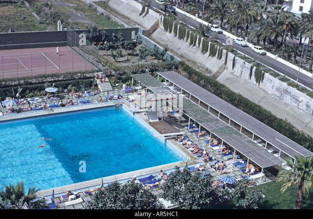 aerial of olympic size swimming pool tennis courts and diving boards stock image