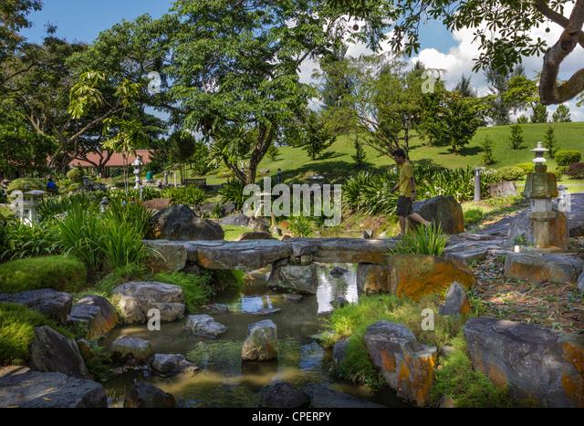 small stone bridge in chinese and japanese gardens singapore stock image