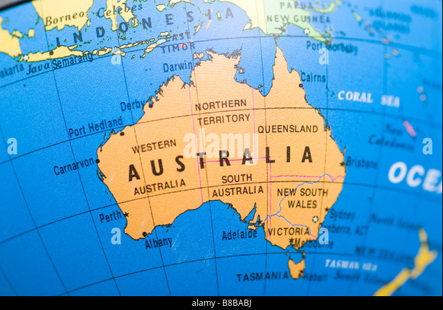 Australian map stock photos australian map stock images alamy close up of australia on a world globe stock image gumiabroncs Image collections