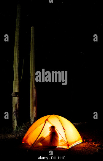 Man silhouette in glowing tent at night with saguaro cactus in background. Organ Pipe Cactus & Tent Silhouette Stock Photos u0026 Tent Silhouette Stock Images - Alamy