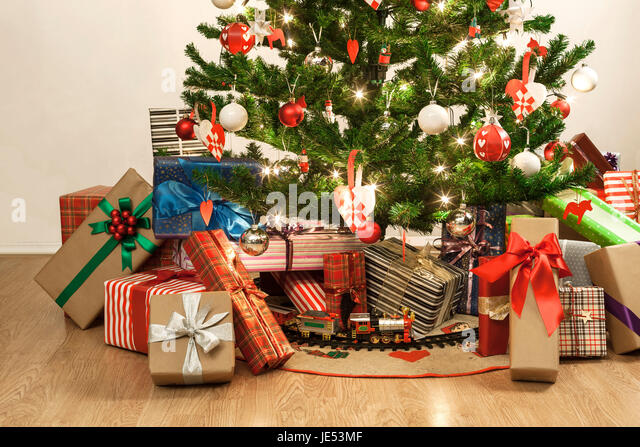 Christmas Tree Train Presents Stock Photos & Christmas Tree Train ...