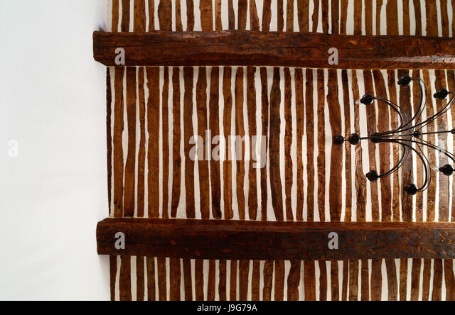 Traditional Provençal Ceiling with Alternating Planks and Plaster Construction (Wattle and Daub) Provence France - Stock Image