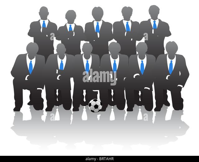illustration of businessmen posing as a soccer team stock image