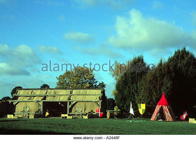 The jousting field and tents at the castle - Stock Image & Medieval Tournament Tents Stock Photos u0026 Medieval Tournament Tents ...