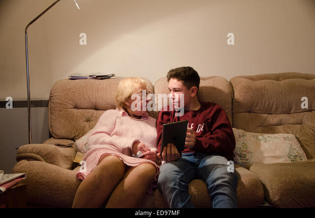 Woman Teen boy with old