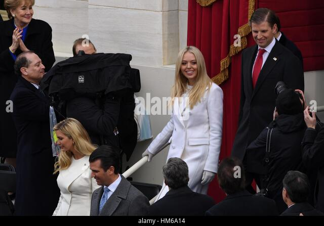 Tiffany Trump walks with Eric Trump as they arrive for the President Inaugural Ceremony on Capitol Hill January - Stock Image