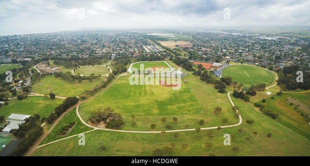 Panoramic Aerial View Of Bicentennial Park And Surrounding Suburban Areas In Chelsea Melbourne Australia
