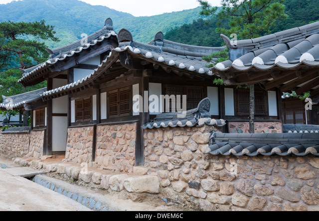 Traditional Korean Architecture At An Historical Village In South Korea