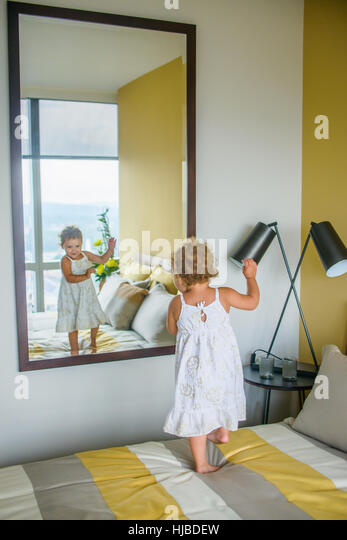 Girl dancing in front of mirror in bedroom   Stock Image. Girl Dancing Bedroom Stock Photos   Girl Dancing Bedroom Stock