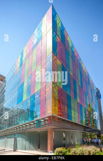 Modern Architecture Color coloured glass building stock photos & coloured glass building