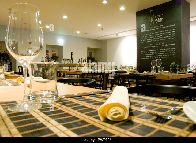 Portuguese restaurant interior design stock photos