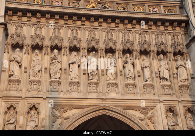A close up of the Christian Martyr sculptures above the West Door to Westminster Abbey & West Door Westminster Abbey Stock Photos \u0026 West Door Westminster ... Pezcame.Com