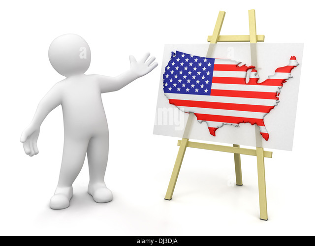 Man And Us Map Clipping Path Included Stock Image