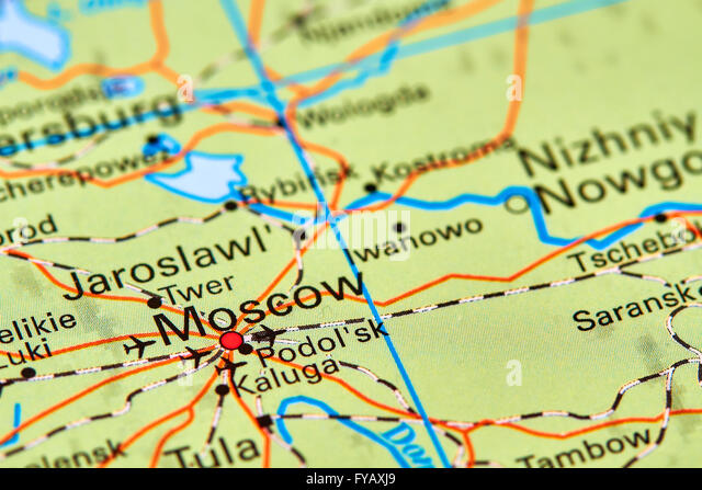 Russia Map Stock Photos Russia Map Stock Images Alamy - Moscow russia on world map