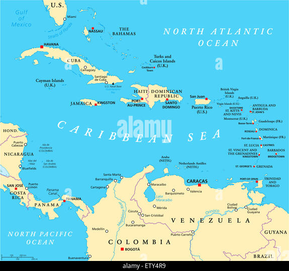Caribbean Sea Map Stock Photos Caribbean Sea Map Stock Images - Caribbean sea map
