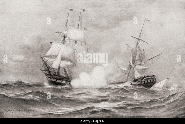 Constitution vs Guerriere Frigates during the War of 1812 Duel