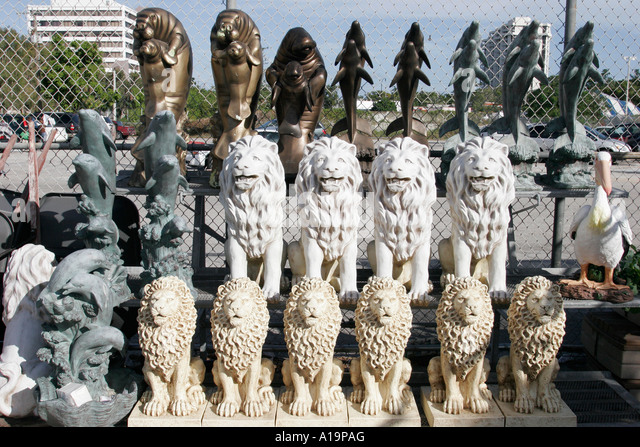 Miami Florida Biscayne Boulevard Kmart Garden Statues For Sale Lion Dolphin    Stock Image