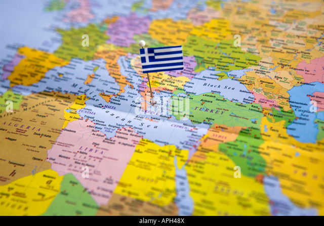 Greece map pin stock photos greece map pin stock images alamy flag pin placed on world map in the capital of greece athens stock image gumiabroncs Image collections