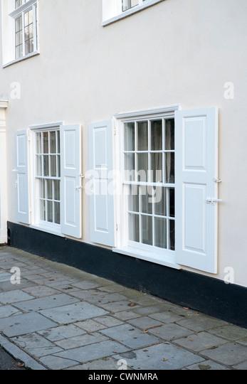 white window shutters stock photos   white window shutters Plantation Shutters Bathroom shutters in bathroom windows