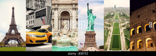 Travel Collage Of Famous Places And Buildings