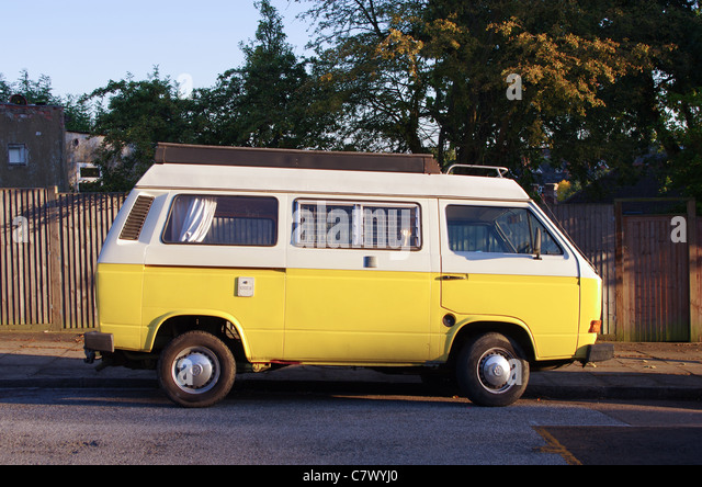 Vw Van Parked By The Road Side Stock Photos