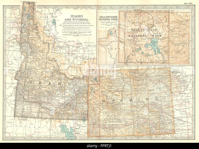 Idaho Wyoming State Map Showing Counties Inset Yellowstone Park 1903 Stock