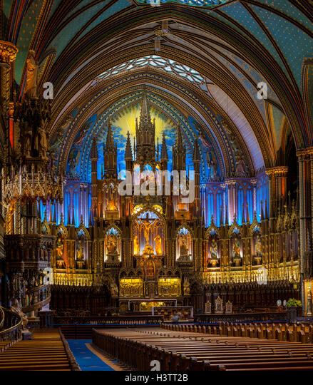 Interior Of Notre Dame Basilica Gothic Revival Architecture Built Between 1824 And 1829